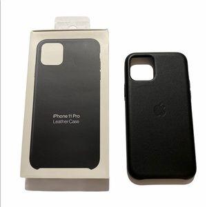 Black Leather iPhone 11 Pro case